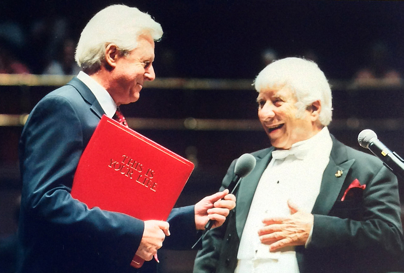 """October 9, 2002 Surprise visit from """"This is Your Life"""" host, Michael Aspel, at the conclusion of  Bernstein's Royal Albert Hall concert performance"""